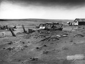 Dust bowl in Dallas, South Dakota, caused by severe drought