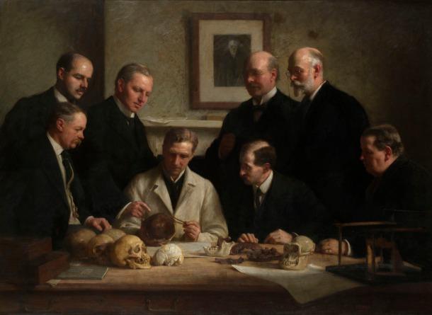 Portrait of the Piltdown skull being examined. John Cooke, 1915.