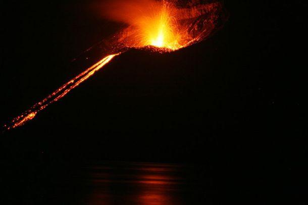 Krakatoa erupting in 2008