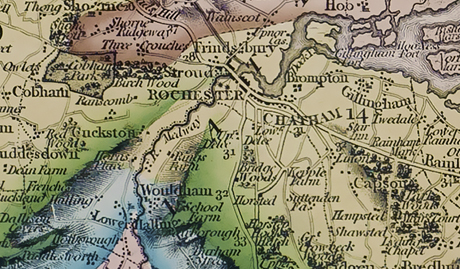 Detail from William Smith's Geological Map of Kent
