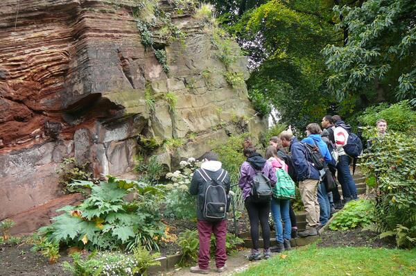 St Bede's College geology students at Quarry Bank National Trust Garden, Styal