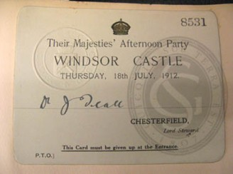 Invitation to an afternoon party at Windsor Castle, 1912