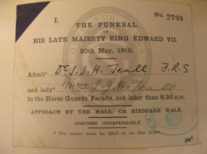 Invitation to Edward VII's funeral, 1910