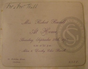 Invitation to 'An Adieu to Dorothy Eden Burrell', 1905
