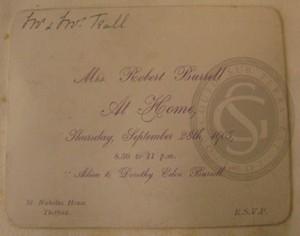 Invitation to 'An Adieu to Dorothy Eden Burrell', 1905