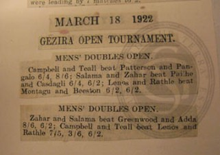 Newspaper cuttings showing F Teall's results in a Cairo tennis tournament, 1922
