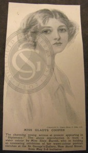 Newspaper reprint of a watercolour of Gladys Cooper, by Elsie Burrell