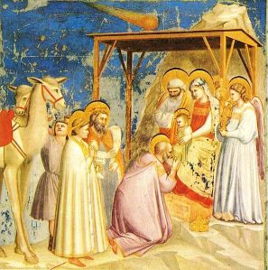 Giotto's The Adoration of the Magi (c 1305) The star is purportedly modelled on Halley, which had been sighted 4 years prior to the painting.