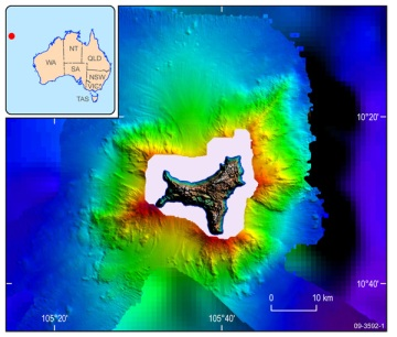 Bathymetry measurements reveal the  steep submarine architecture around Christmas Island. Source.