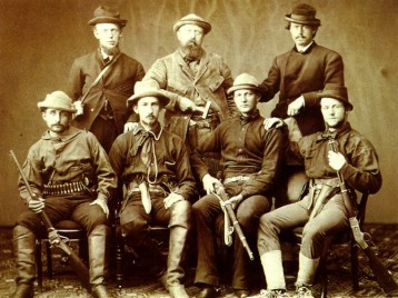 Marsh (back row and center), surrounded by armed assistants for an1872 expedition.