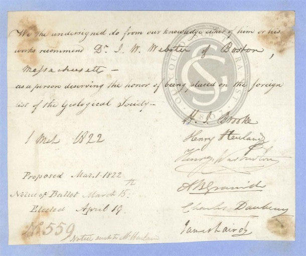 John White Webster's admission certificate nominating him as a Foreign Member of the Geological Society, March-April 1822 (GSL/F/1/2)