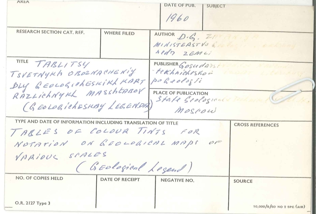 Geological Society Library catalogue record for Russian colour cards