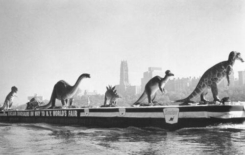 Dinosaurs being transported along the Hudson River to the 1964 World's Fair.