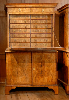 One of the five cabinets housing Woodward's collection.