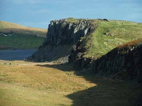 The Whin Sill, looking towards Crag Lough from Steel Rigg. Hadrian's Wall runs along the crest.