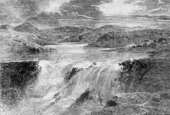 Artist's impression of the bursting of the Dale Dyke Dam.
