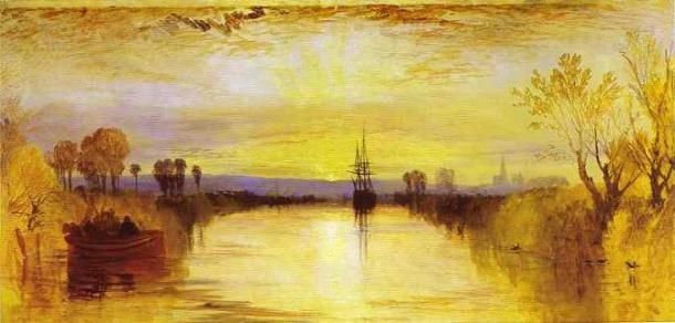 Turner's 'Chichester Canal', c. 1828 - the yellow tinge is perhaps due to high levels of tephra in the atmosphere following Tambora's eruption