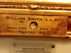 The famous lock of hair, beneath Smith's portrait.