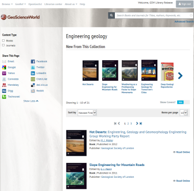 Engineering geology subject area search: GSL publications alongside other geological society publications.