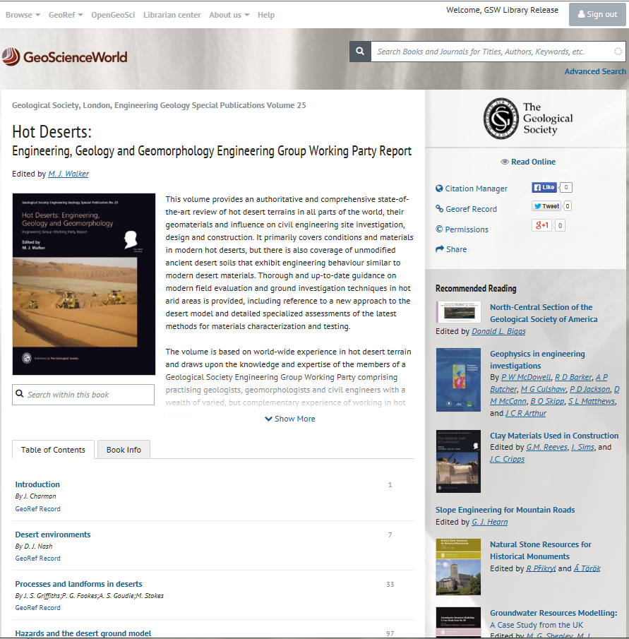 Gsl teams up with geoscienceworld ebooks geological society of a books main book page the table of contents and other book information fandeluxe Choice Image