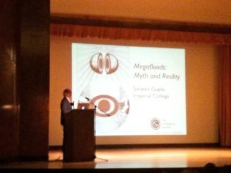 Sanjeev Gupta introducing his talk at the British Science Festival, 'Megafloods: Myth and Reality'
