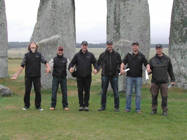Part of the LBI ArchPro survey team at Stonehenge (from left: Nico Neubauer, Thomas Zitz, Wolfgang Neubauer, Klaus Löcker, Erich Nau, Immo Trinks).© LBI ArchPro, Geert Verhoeven