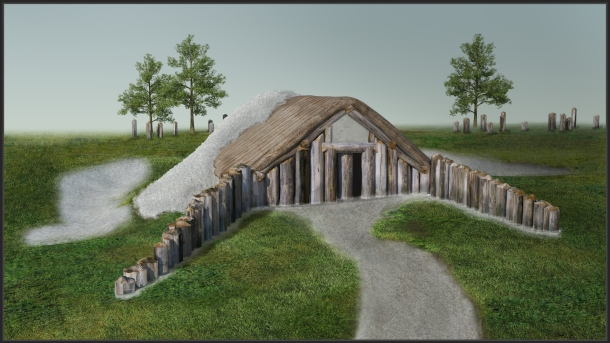 3D-reconstruction and visualization of the long barrow southwest of Durrington Walls (view towards the entrance from the northeast) just before the wooden mortuary building was completely covered by material excavated from ditches dug along the long sides of the construction.© LBI ArchPro, Joachim Brandtner
