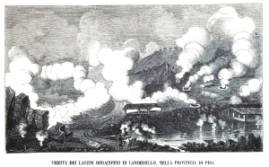 Engraving of the hot springs at Larderello