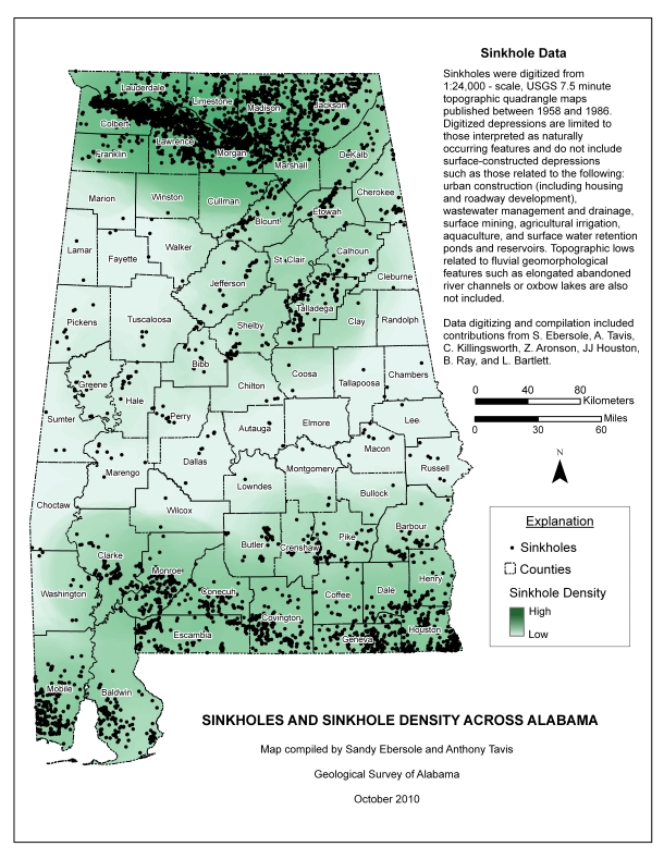Sinkholes and Sinkhole Density across Alabama. Image Credit - Geological Survey of Alabama, map compiled by Sandy Ebersole and Anthony Tavis, October 2010.