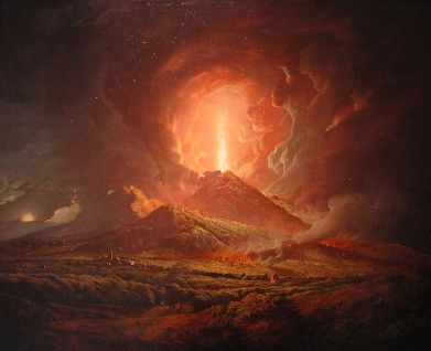 18th C painting of Vesuvius from Portici by Joseph Wright of Derby. Image Credit - Wikimedia Commons.