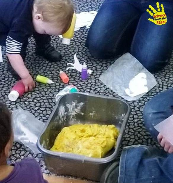 Fossil hunting in fizzy (carbonated) play dough and painting dinosaurs