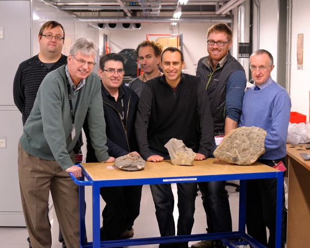 Members of the PalAlba palaeontology research group. Left to right: Mark Young, Nick Fraser, Neil Clark, Stig Walsh, Steve Brusatte, Tom Challands, Colin MacFadyen. Photo by Bill Crighton