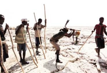 Salt miners in Ethiopia