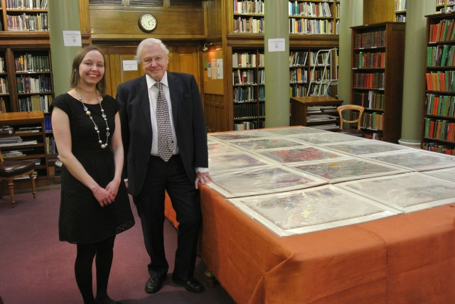 Sir David Attenborough and Victoria Woodcock with the newly discovered map