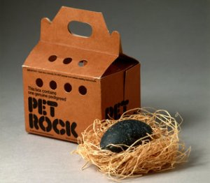 The pet rock, a smooth beach pebble, came on a bed of straw, complete with carry-case (perforated) and a 32-page instruction manual.