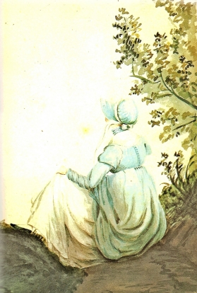 Portrait of Jane Austen in Lyme Regis countryside by her sister Cassandra
