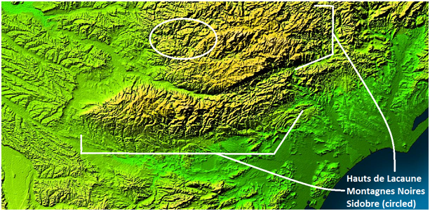 Figure 1: The Black Mountains, the Lacaune Hills and the Sidobre [Source: Adapted from http://photojournal.jpl.nasa.gov/jpeg/PIA03393.jpg]