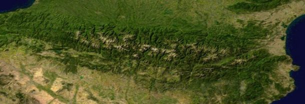 Composite satellite image of the Pyrenees (NASA)