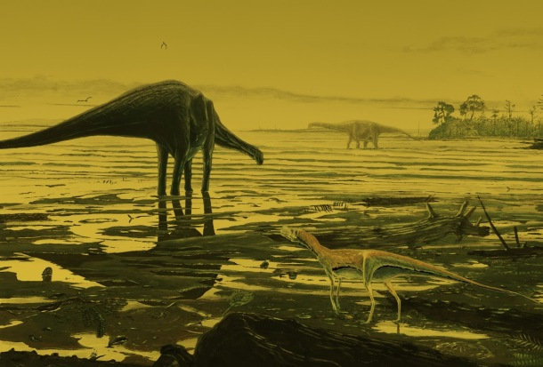 Artist's impression of Sauropod dinosaurs on Skye, credit Jon Hoad