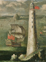Painting by Isaac Sailmacker (1633-1721) of the 2nd Lighthouse (Source Wikimedia Commons)
