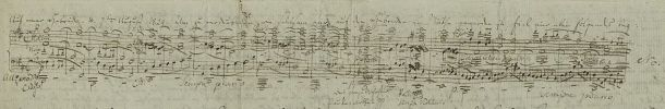 Initial sketch for the theme of the Hebrides Overture, found in a letter dated August 7, 1829 to his sister Fanny. Source: Wikimedia commons