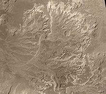 Delta in Eberswalde crater, Mars (Wikipedia)