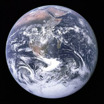 "The ""Blue Marble"" photograph of Earth, taken during the Apollo 17 lunar mission in 1972 (Wikipedia)"
