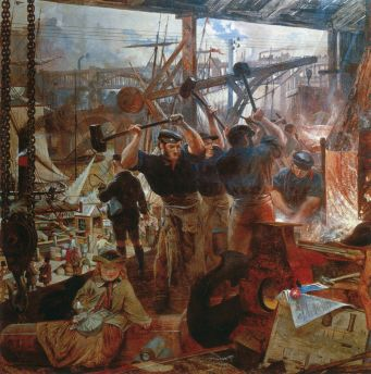 Iron and Coal, 1855–60, by William Bell Scott - did the Anthropocene Epoch start with the Industrial Revolution? (Wikipedia)