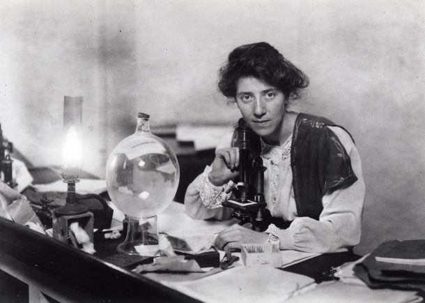 Marie Stopes in her laboratory (source: Marie Stopes International Australia.) Stopes was elected a Fellow of the Geological Society in 1922.