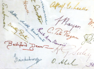 Lower left corner of the tablecloth that includes signature of Arthur Smith Woodward (blue). Image from 'Lady Smith Woodward's Tablecloth', SP 430, 89-111