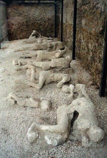 'Garden of the fugitives' - plaster casts of victims at Pompeii