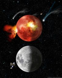 Artist's impression of the moon during the Late Heavy Bombardment (Lunar Cataclysm) above and today below.