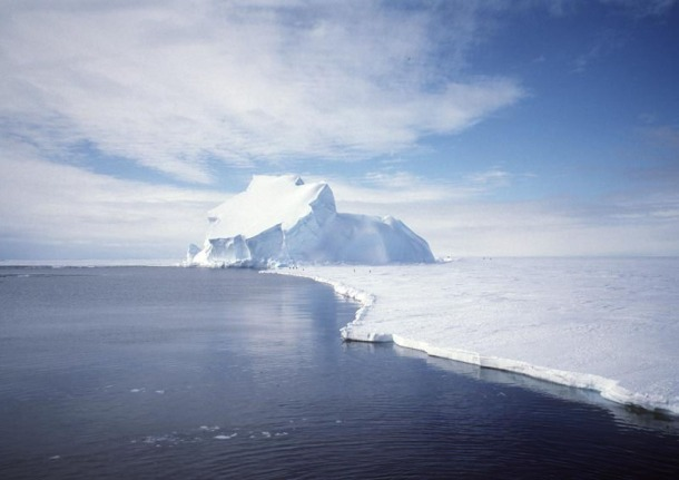 View of the Riiser-Larsen Ice Shelf in Antarctica.