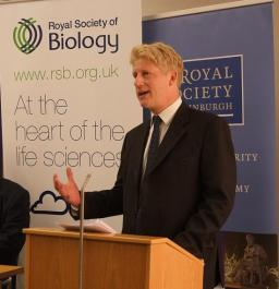 Jo Johnson, Minister of Universities and Science speaking at the 2016 Parliamentary Links Day - Image c. Royal Society of Biology.